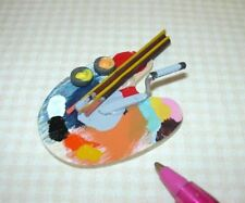 """Miniature 1:6 Barbie Scale Artist's Palette Set (2 1/4"""" x 1 3/4""""): DOLLHOUSE"""