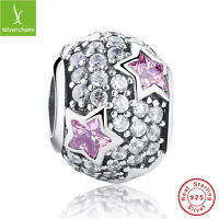 S925 Sterling Silver Round Charms Beads With Pink Stars Clear CZ Christmas Gifts