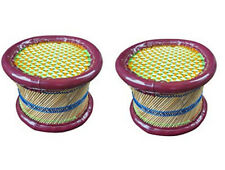KKSM Patio Muddhi Eco-Friendly Handicraft Cane Bar Bamboo Footstool set of 2