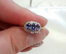 🎄10k Yellow Gold, Tanzanite & Diamond Accents Ring (2.0g). Size 9
