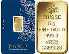 Fifty (50) 5 Gram PAMP Suisse .9999 pure Gold Bars - FREE shipping
