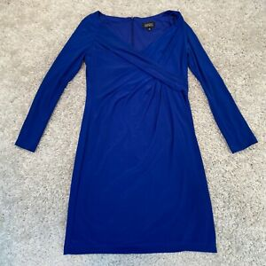 ADRIANNA PAPELL Womens Cross Wrap Dress UK 10 Medium Blue Long Sleeve
