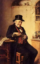 Perfect Oil painting hermann kern - the thirsty reader old man drinking in room