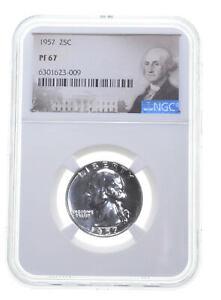 1957 PF67 Proof Washington Quarter NGC Graded - White Coin Spot Free PR67 *0140
