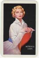 Playing Cards 1 Single Swap Card Old Vintage METROVICK LAMPS Advert GIRL LADY 20