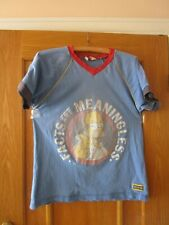 Bart Simpson T Shirt , blue, faded, FACTS !   Boys Age 13/14 Years