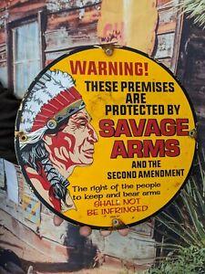 VINTAGE DATED 1957 SAVAGE ARMS PORCELAIN ENAMEL SIGN INDIAN WINCHESTER DEALER