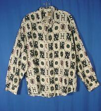 Perry Ellis mens 100% silk shirt long sleeve black white Playing Cards Joker Med