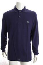 BNWT Lacoste L1312 Homme Violet Classic Fit Polo Chemise en coton à manches longues RRP £ 85