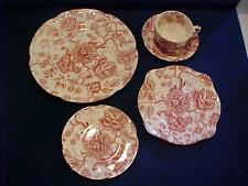 Johnson Bros. ENGLISH CHIPPENDALE RED / PINK 5 PC PLACE SETTING - NICE!