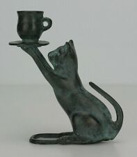Cast Metal Cat With Tea Cup Candle Holder