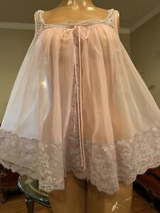 Vintage 1960's Glydons Sheer Pink Chiffon & Lace Babydoll Nightgown Small