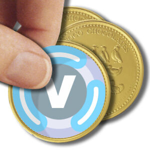 x35 V Bucks Inspired Chocolate Coin Logo Stickers Birthday Party Label Kids 37mm