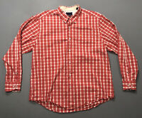 Men's Tommy Bahama Red White Plaid Check Long Sleeve Button Up Shirt Sz XL GUC