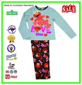 GENUINE AUS LICENSED Teen Girls Kids Sesame Street Elmo PJ's Pyjamas Set SALE