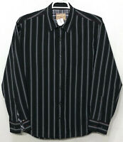Mens Vintage Italia XL Black Striped Long Sleeve Button Front Dress Shirt
