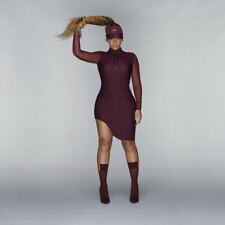 adidas Ivy Park Asymmetrical Fitted Dress Size L (UK 18) Maroon Beyonce WW Ship