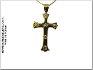 14K GOLD & DIAMOND CROSS WITH NECKLACE * BEAUTIFUL & RARE * BEST OFFER TODAY!