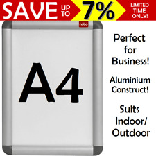 A4 NOBO Aluminium Clip Frame Board Poster Indoor Outdoor Display w Mounting Kit