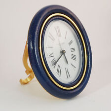 Cartier Mecanic Clock, oval Case, Blue, Box/Papers Tripple Signed NICE 1979