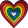 Rainbow Heart Patch Iron Sew On Embroidered Applique Embroidery Badge Gay Pride