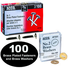 """ACCO 71703 (A7071703B) 3/4"""" Brass Plated Fasteners With 71511 Brass Washers"""