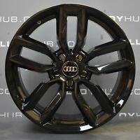"GENUINE AUDI S3 8V 5 TWIN SPOKE GLOSS BLACK 18"" INCH ALLOY WHEELS SET X4 S-LINE"