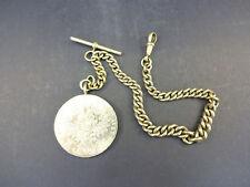 Maria Theresa Thaler Restrike Silver Coin, Victorian Nickel Silver Albert Chain