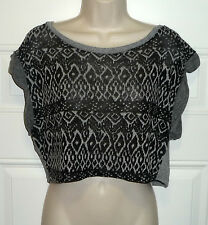 Ginger G Black Heather Gray Short Sleeve Cropped Top Sweater Juniors Sz M S USA