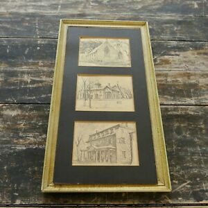 Vintage ROSCOE MISSELHORN Indiana Architecture Pencil Print Set (3pc) Framed