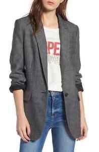 Rebecca Minkoff Merilee Black Gray Herringbone Blazer Suit Jacket Size XS Wool