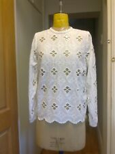 RIVER ISLAND White Cotton Boho Broderie Blouse Top -  size  8 UK