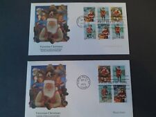 2  Fleetwood Xmas 1st Day Covers (1995) Scott 3404 thru 3407 Booklet and Sheet