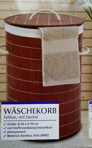 Real Quality Wäschekorb faltbar mit Deckel ,Bambus ,Rund ca Ø 35 X  50cm,NEU,OVP