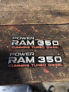 1989 - 1993 DODGE RAM CUMMINS POWER RAM 350 EMBLEMS BADGES SET
