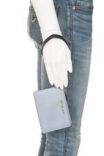 MICHAEL KORS Wristlet Mini Blue Leather Card Wallet ID Gold Slim Pebble