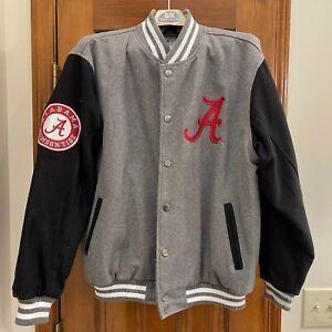 Alabama Crimson Tide Colosseum Letterman Style Jacket Wool Gray/Black Logos
