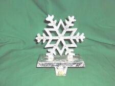 #1823 - CHRISTMAS STOCKING HOLDER, HANGER - WHITE WINTER SNOWFLAKE