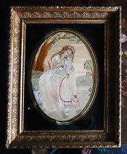Antique c1830~SIGNED GILT FRAME EMBROIDERED SILK PAINTING OF WOMAN & DOG~French