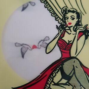 TIGHTS LINDY BOP Pale PINK Teenie Birds Hearts 50s Rockabilly S/M vintage style