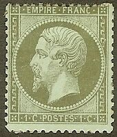 """FRANCE STAMP TIMBRE N° 19 """" NAPOLEON III 1c OLIVE DENTELE 1862 """" NEUF x TB"""