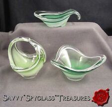 THREE Flygsfors 'Coquille' Art Glass Bowls Amoebic Mid Century 1959 1960 & 1961