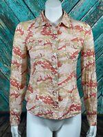 Marc Jacobs Women's Top 4 Pink Orange Print 100% Cotton Button Front Sheer