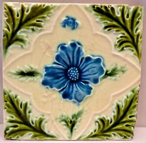 VINTAGE TILE ENGLAND PURPLE ROSE PORCELAIN GREEN LEAF ART NOUVEAU COLLECTIBL#145