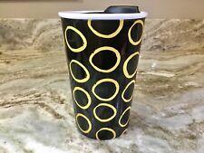 Clay Art Ceramic Travel Mug. Black And Gold Abstract Design. New.