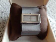 Barely Used BCBG Women's Plisse Grey Dial Satin/Genuine Leather Watch Quartz
