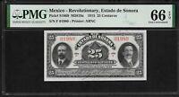 Mexico 25 Centavos 1915 PMG 66 EPQ UNC P#S1069 Revolutionary Estado de Sonora