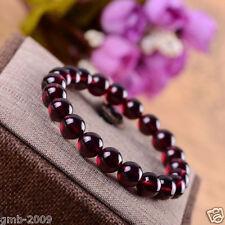 Genuine Natural 12mm Rose Red Garnet Crystal Round Beads Stretch Bracelet Bangle