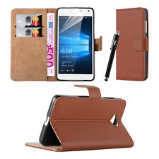 Slim Flip Book Soft Leather TPU Wallet Case Cover for Microsoft LUMIA Phone Nokia LUMIA 550 Brown