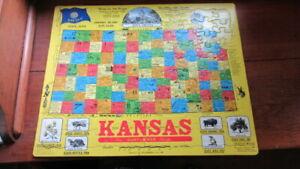 "1988 Vtg KANSAS Frame Tray Puzzle--SCROGIN MAP Art-16 x 20"" Hutchinson KS"